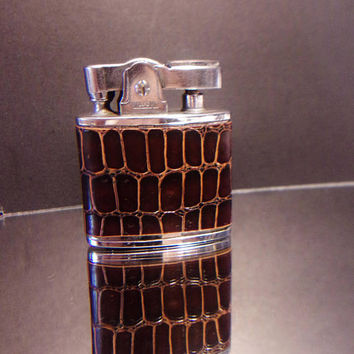 Vintage Willow Metal Co Lighter Animal Print Brown Leather Japan Collectible