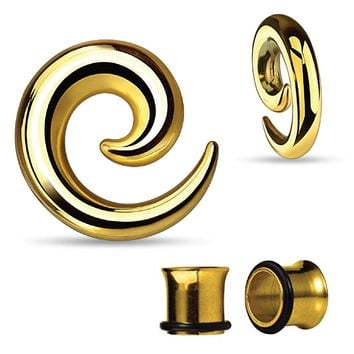 BodyJ4You Gauges Kit Spiral Hollow Light Taper Tunnels Gold Surgical Steel 0G 8mm Body Piercing Jewelry Set 4 Pieces