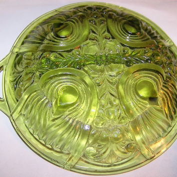 Vintage Mint Green Depression Glass Bowl with Handle, Ornate Design, Center Divider, Lovely, Candy Dish, Ornate Glass, Party Tray, SALE!