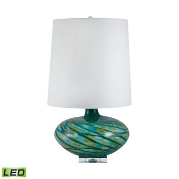 312-LED Big Bang Blown Glass LED Table Lamp In Blue Swirl