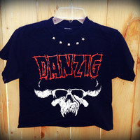 Danzig band shirt // cut // raw edge//concert t shirt // heavy metal// punk // crop top