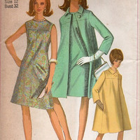 Retro Simplicity 1960s Sewing Pattern Mad Men Style Sheath Dress Duster Jacket Swing Coat A-line Uncut FF Bust 32