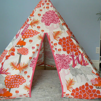 Pink and Orange Forest with Moose Play Tent Teepee