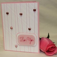 Handmade Card - Anniversary, Love You, Just Because, Birthday - Pink Heart Rhinestones | foreversmemories - Cards on ArtFire