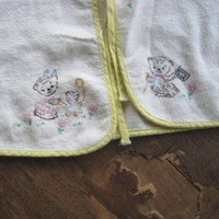 Vintage Baby Clothes: Lacy Satin or White Cotton Baby Cap; Teddy/Kitten-Embroidered Baby Jacket; Sweet/Unused/Giftable Baby Bonnets