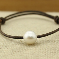 ETS-B101 Handmade 11-12mm big freshwater potato pearl beaded ,leather pearl bracelet,  leather cord bracelet