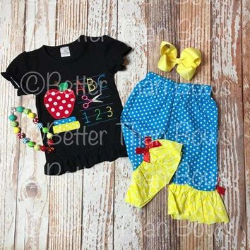 RTS, 4pc. Back To School Knit Cotton Outfit with FREE Necklace and Hair Bow, Baby Girl Clothes, School Clothes, 1st Day of School