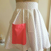 Vintage - retro - rockabilly - pinup - 50's - housewife - style - seersucker - strawberry - print - half - apron - with - pocket