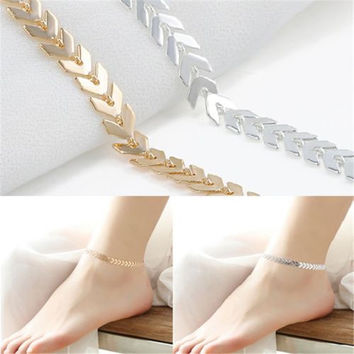 Summer Boho Fishbone Chain Anklets Fashion Ankle Foot Jewelry Body Jewelry For Women Gifts
