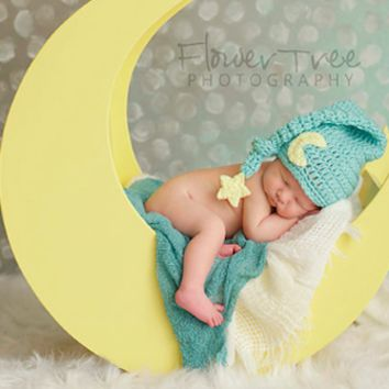 Mint Green Moon And Stars Baby Newborn Prop Hat - CCC125