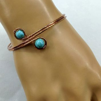 Petite Adjustable Copper Turquoise Wire Wrap Bangle