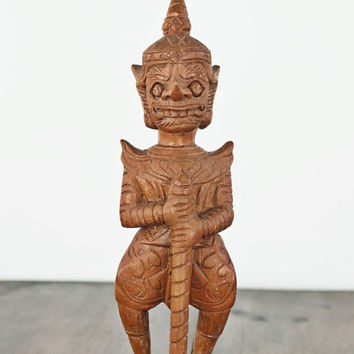 Yaksha Statue, Vintage Wood Carving, Temple Guardian, Thai Art