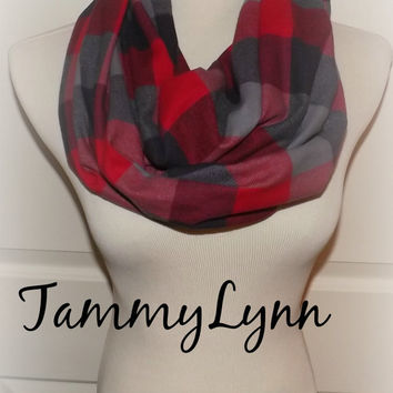 Red Charcoal Gray Buffalo Plaid Flannel Check Shirting Infinity Scarf Winter Christmas Women's Accessories