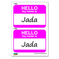 Jada Hello My Name Is - Sheet of 2 Stickers