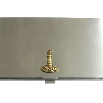 Brass Toned Nautical Light House Pendant Business Card Holder