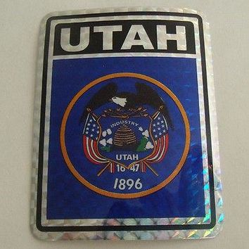 "Utah Flag Reflective Sticker 3""x4"" Inches Adhesive Car Bumper Decal"