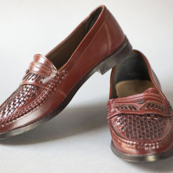 Vintage Men's Loafers – Genuine Leather Weaven Loafers Shoes Burgundy Shade - Retro Woven Classic Gent's Shoes European Size 42\ UK 8 Shoes