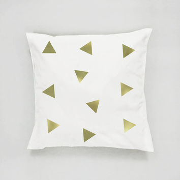 Gold Triangles Pillow, Triangles Pattern Pillow, Home Decor,Cushion Cover,Throw Pillow, Bedroom Decor,Modern Pillow, Bed Pillow, Gold Pillow