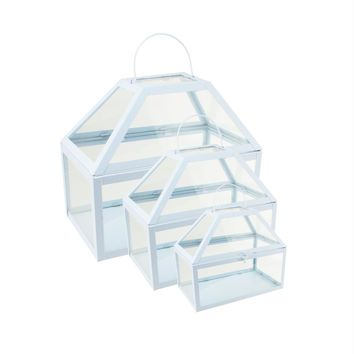 """Set of 3 Light Powder Blue Metal and Glass Paneled Nesting Outdoor Greenhouse Terrariums 8.25""""-12"""""""
