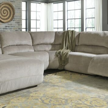 5 pc Toletta II collection granite colored fabric sectional sofa with recliners and chaise