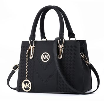MK Michael Kors New fashion leather shopping shoulder bag handbag women Black