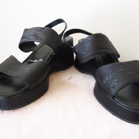 STRAPPY // Vintage 90s Platform Sandals Chunky Heel Shoes 1990s Grunge Kawaii Cute Wedge Slingbacks Cyber Womens 12