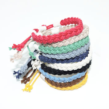 Adjustable Woven Bracelet, Nautical Colors