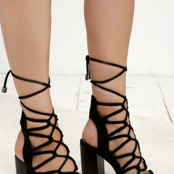 Everyday Epic Black Suede Lace-Up Heels