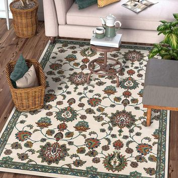 2938 Ivory Floral Persian Medallion Area Rugs
