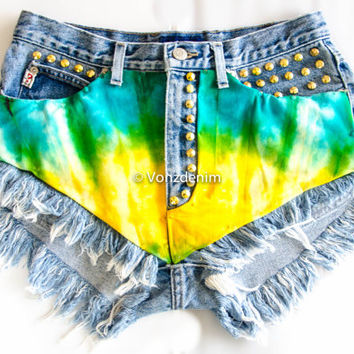 Limited Edition Levi High Waisted Denim Shorts, Levi Tie & Dye High Waisted Studded Shorts, Levi Vintage Hipsters Denim Shorts