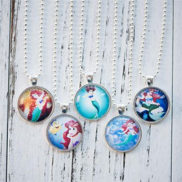 Glass Cabochon Necklace The Little Mermaid or Princess Ariel Pendant Necklace Handmade Women Jewelry Cute Birthday Party Gifts