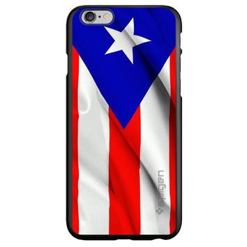 DistinctInk® Spigen ThinFit Case for Apple iPhone or Samsung Galaxy - Red White Blue Puerto Rico Flag