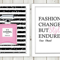Chanel parfume and Coco Chanel quote printable set,digital print art, wall art, home decor,instant download