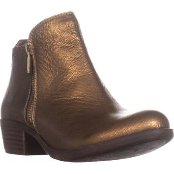 Lucky Brand Basel Side Zip Ankle Boots, Old Bronze, 8 US / 38 EU