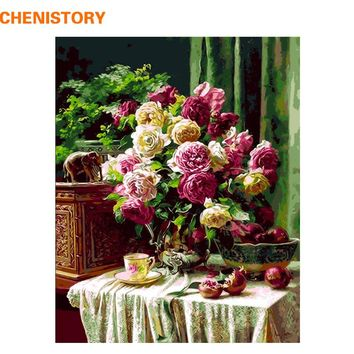 CHENISTORY Frameless Flowers DIY Painting By Numbers Kits Acrylic Paint Wall Art Picture 40x50cm Calligraphy Painting Home Decor