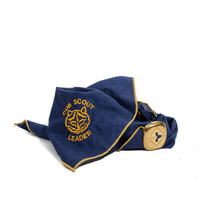 Boyscout Scarf Navy Blue & Yellow Cub Scout Leader Neckercheif