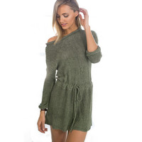 Army Green Long-Sleeve Drawstring-Waist Knitted Dress