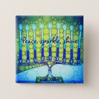 """Peace Sparkle Shine"" Blue Hanukkah Menorah Photo Pinback Button"