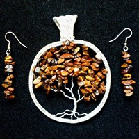 Tree of Life Tigers Eye Silver Pendant with earrings