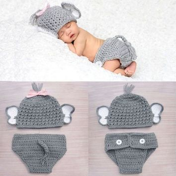 Newborn Baby Girls Boys Elephant Costume Baby Boy Girl Animal Knit Crochet Elephant Hat Briefs Clothes Set Photo Prop Outfits