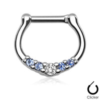 5 Gem Aqua Septum Clicker