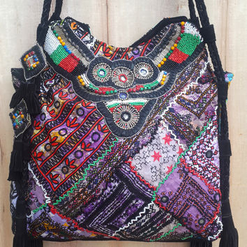 Tapestry and Tassel Tote Bag