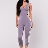 Jump On Me Jumpsuit - Lavender/White