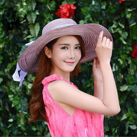 Women's Wide Brim Beach Sun Hat Straw Floppy Bow Hats 6 Colors To Select