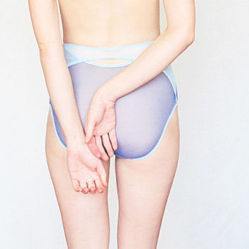 Classic High style mesh sheer PANTIES by Egretta Garzetta underwear. Dusk blue and pale blue colors.