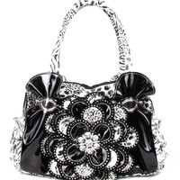 * Black Leopard Rhinestone Flower Fashion Handbag