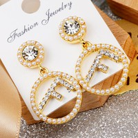 Fendi Fashion New Letter More Pearl Long Earring Accessories Golden