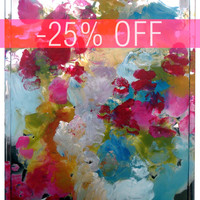 DISCOUNTED - An Original Acrylic Impressionistic Abstract Coloruful Contemporary Modern Mirror Painting Made With Lips by Kelli Gedvil!