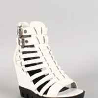 Strappy Caged Buckle Open Toe Lug Sole Wedge