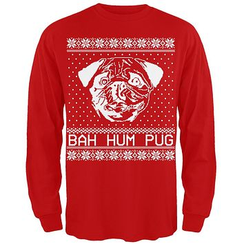 Bah Hum Pug Ugly Christmas Sweater Red Adult Long Sleeve T-Shirt